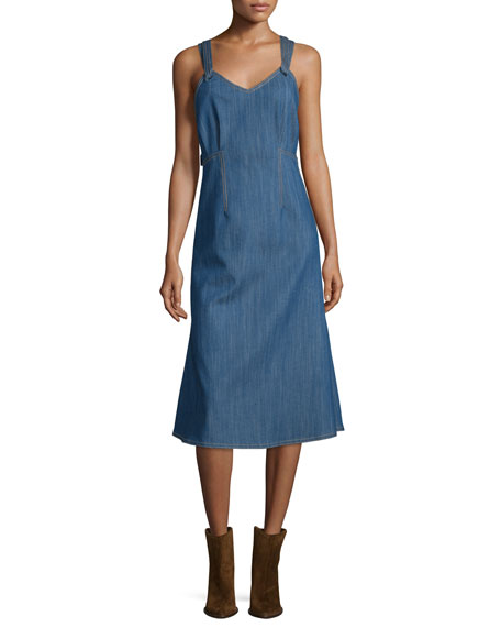 Adam Lippes V-Neck Denim Tank Dress, Blue Indigo