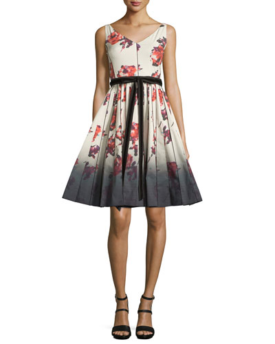 Sleeveless Floral-Print Fit & Flare Dress, Cream
