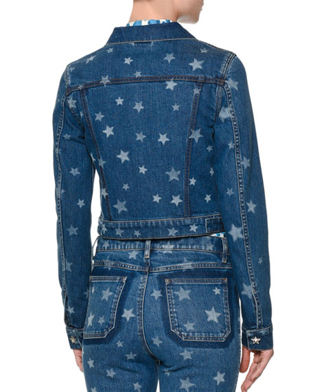 Laser Star-Print Cropped Jean Jacket, Light Blue Denim Onsale