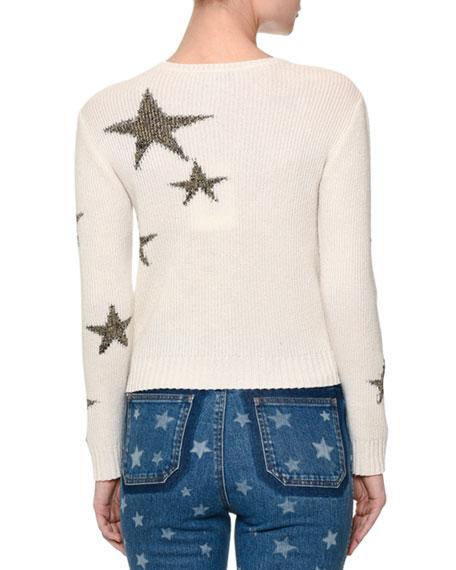 Valentino Star-Intarsia Cropped Sweater, Off White