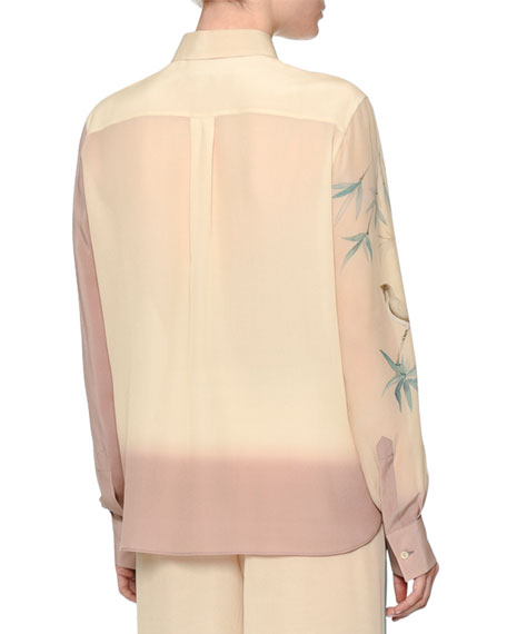 Valentino Long-Sleeve Degrade Bird-Print Blouse, Cipria/Pale Pink