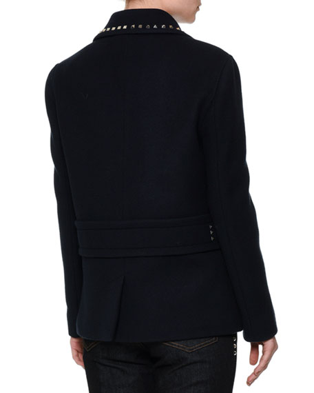 Rockstud-Trim Double-Breasted Peacoat, Navy