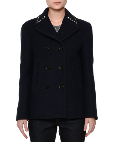 Valentino Rockstud-Trim Double-Breasted Peacoat, Short-Sleeve