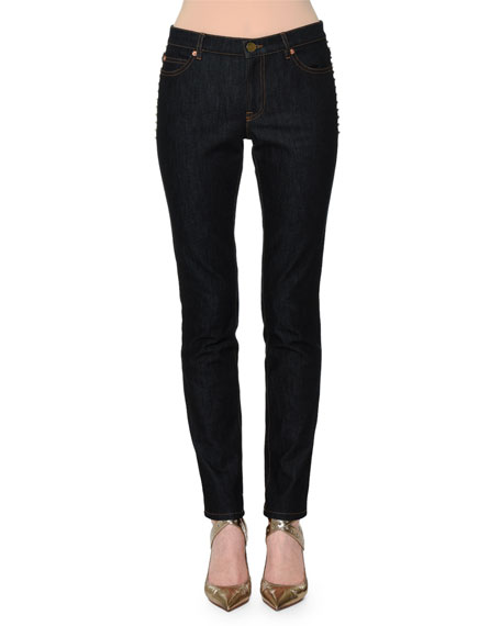 Rockstud-Trim Skinny Jeans, Navy Denim
