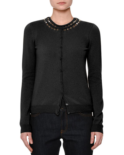 Rockstud-Trim Cashmere Twinset, Black Cheap