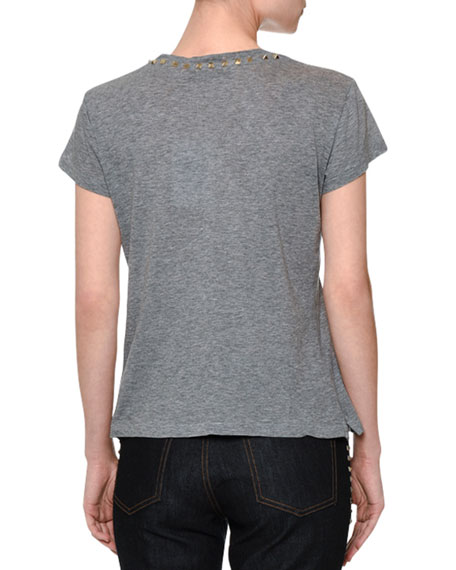 Short-Sleeve Rockstud-Trim T-Shirt, Gray
