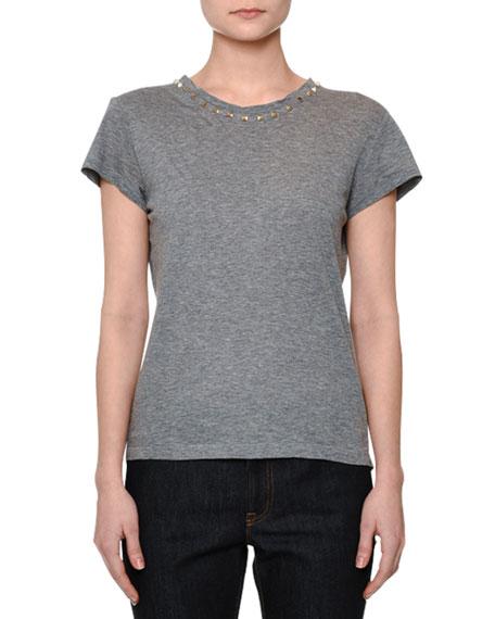 Short-Sleeve Rockstud-Trim T-Shirt, Gray