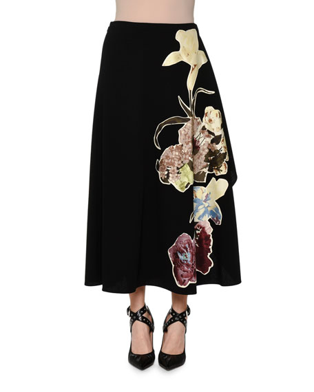 Valentino Crewneck Bow Sweater & Floral-Print Side-Ruffle Skirt