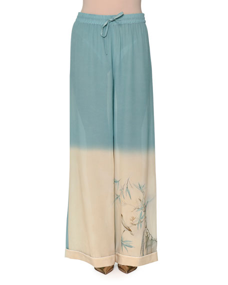 Valentino Degrade Printed Wide-Leg Pants, Celeste Light Blue