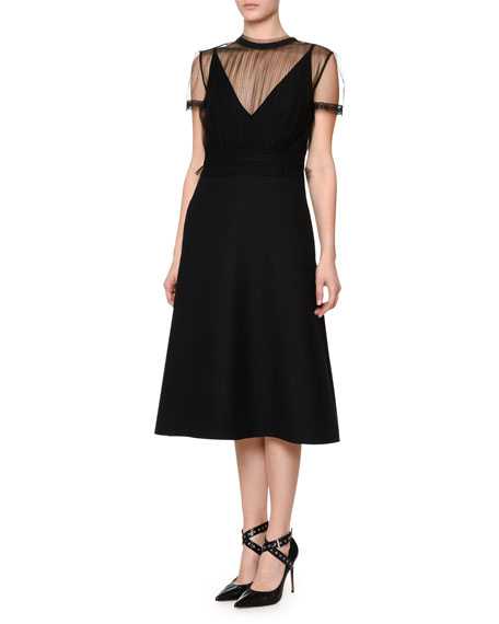 Short-Sleeve A-Line Dress, Black