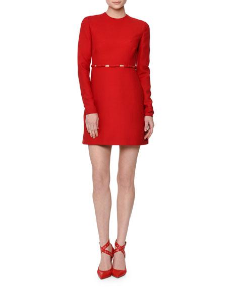 Valentino Long-Sleeve Cutout-Waist W/Bows Dress, Red