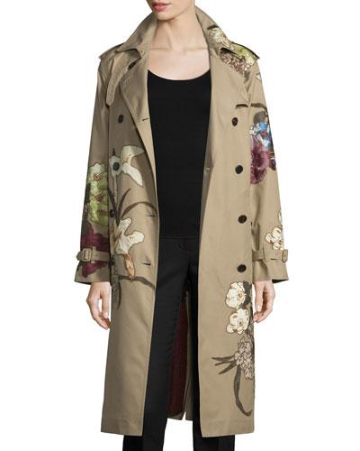 Kimono Embroidered Trenchcoat, Beige