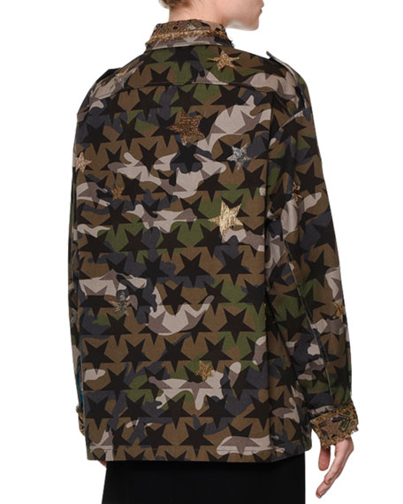 Star-Embroidered Camouflage Field Jacket, Green Camo