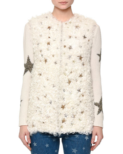 Shearling Fur Vest w/Star Embellishments, Natural Reviews