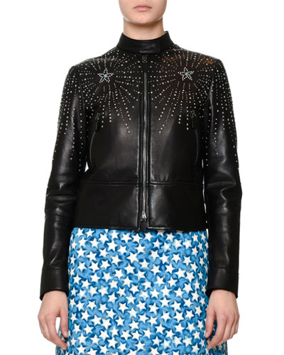 Embellished Leather Bomber Jacket, Black