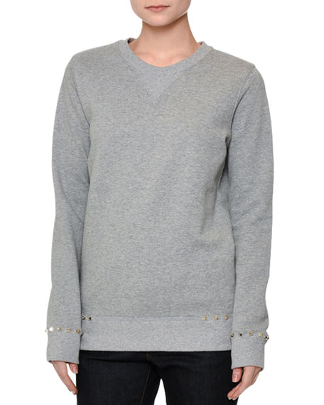 Valentino Long-Sleeve Rockstud-Trim Sweatshirt, Gray Melange
