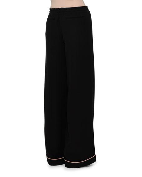 Drawstring-Waist Pajama-Style Pants, Black/Nude