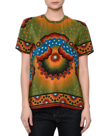 Short-Sleeve Mixed-Print Top, Green/Blue/Spice