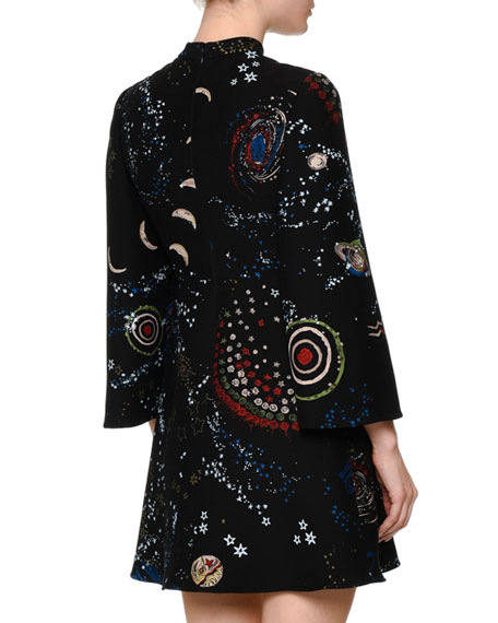 3/4-Sleeve Astro-Print Shift Dress, Black