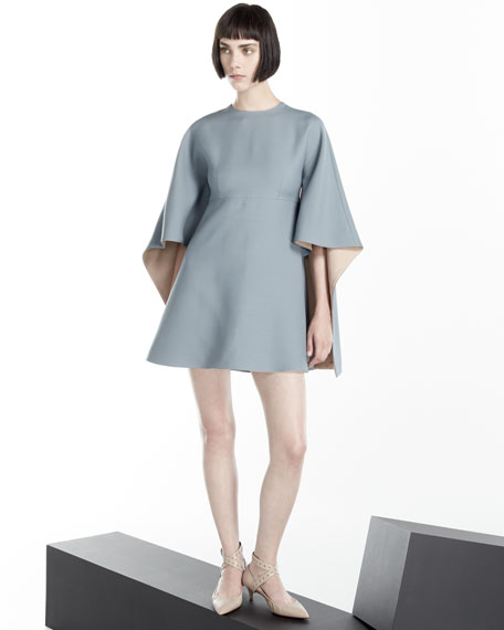 Valentino Kimono-Sleeve Two-Tone Mini Dress, Blue/Pink