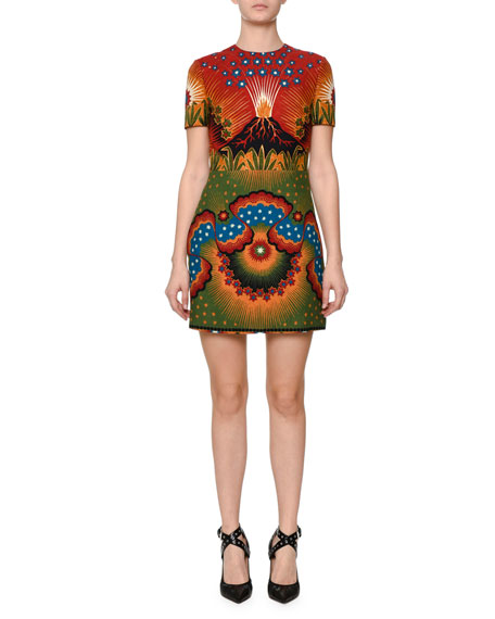 Valentino Short-Sleeve Mixed-Print Dress, Green/Blue/Spice