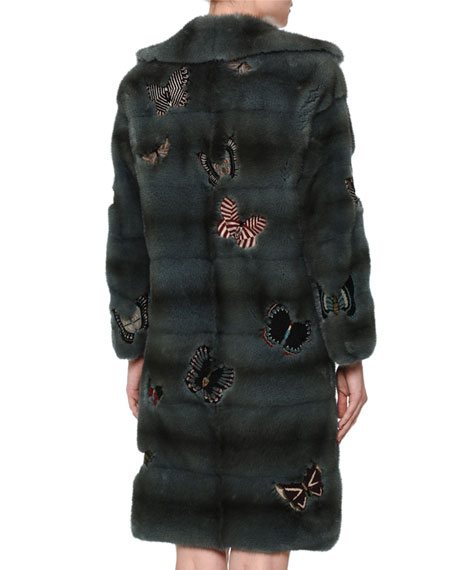 Fur Coat W/Japanese Butterfly Appliqué, Blue