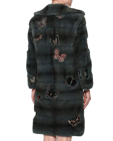 Fur Coat W/Japanese Butterfly Appliqué, Blue