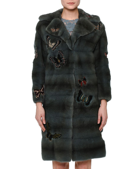 Valentino Fur Coat W/Japanese Butterfly Appliqué &