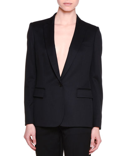 Classic Tailored One-Button Suit Jacket, Black