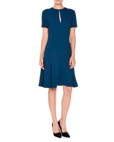 Short-Sleeve Keyhole Belted Dress, Rose
