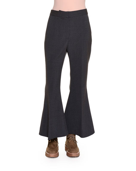Stella McCartney Flare-Leg Cropped Pants, Granite