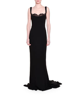 Lace Peek-A-Boo Tank Gown, Black
