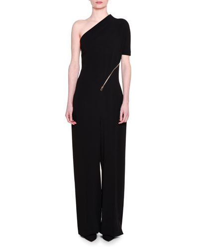 One-Shoulder Side-Zip Jumpsuit, Black