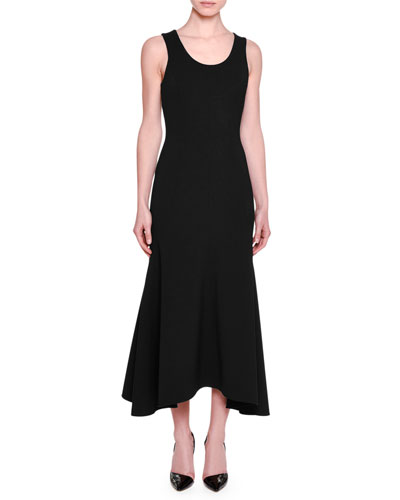 Sleeveless Flounce-Hem Midi Dress, Black