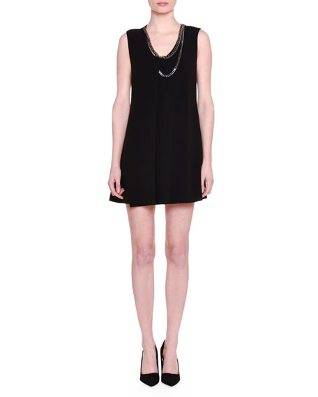 Stella McCartney Falabella-Trim Sleeveless Tunic Dress, Black