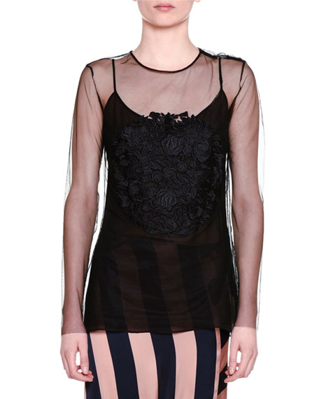 Stella McCartney Floral-Embroidered Sheer Top, Black
