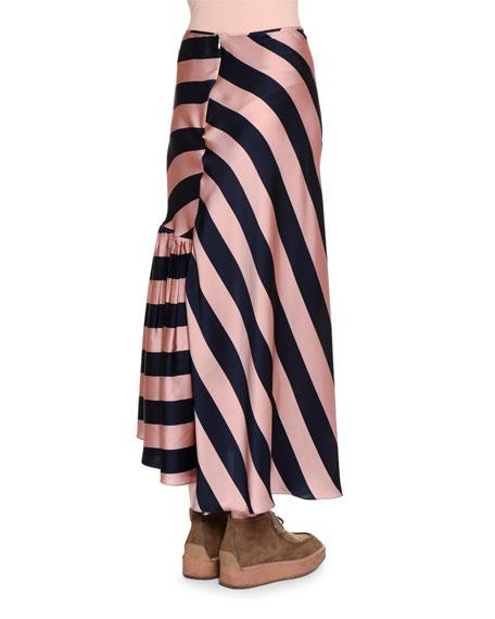 stella mccartney gathered ruffle wide striped maxi skirt