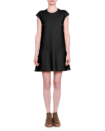 Cap-Sleeve Zip-Detail Shift Dress, Black