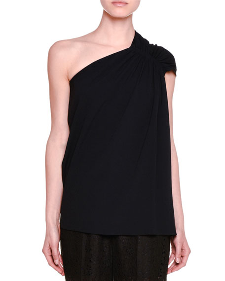 Stella McCartney Gathered One-Shoulder Top, Black