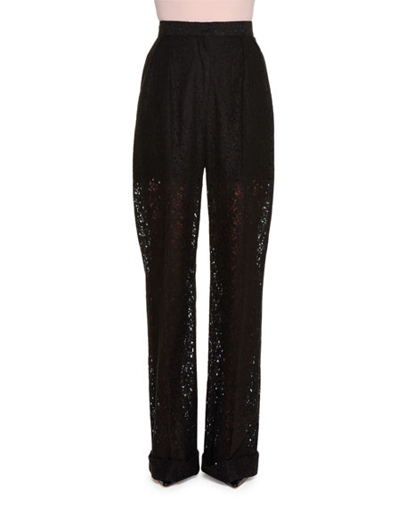 High-Waist Floral Lace-Lined Pants, Black