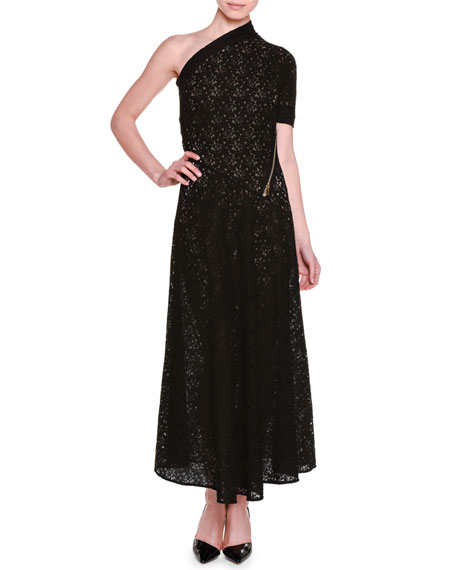 Stella McCartney One-Shoulder Floral-Lace Lined Gown, Black