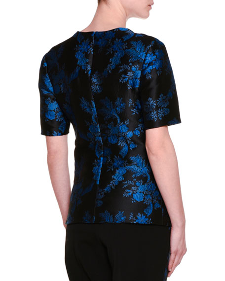 Short-Sleeve Floral-Embellished Blouse, Black