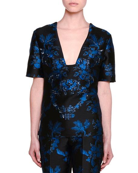 Short-Sleeve Floral-Embellished Blouse, Black