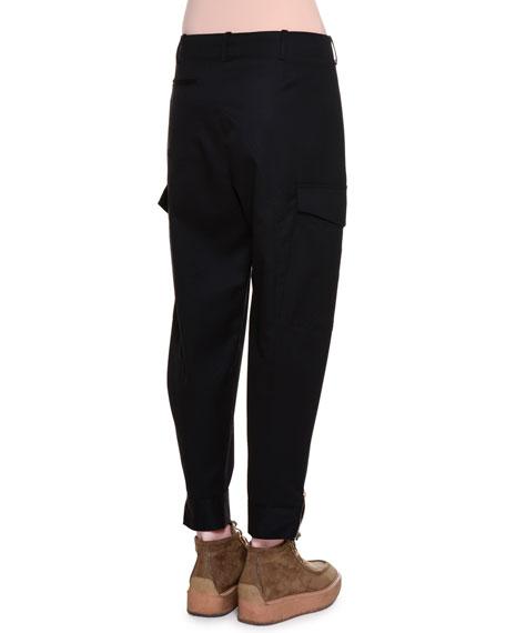 Gathered-Waist Cropped Pants, Black