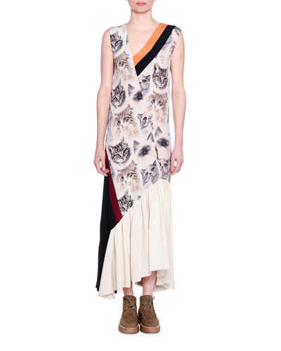 Cat-Print Sleeveless Maxi Dress, White/Black