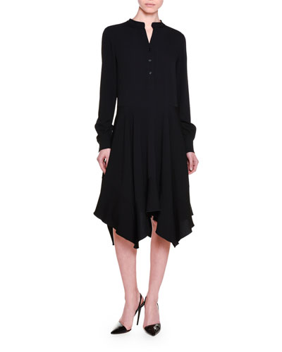 Long-Sleeve Handkerchief-Hem Shirtdress, Black