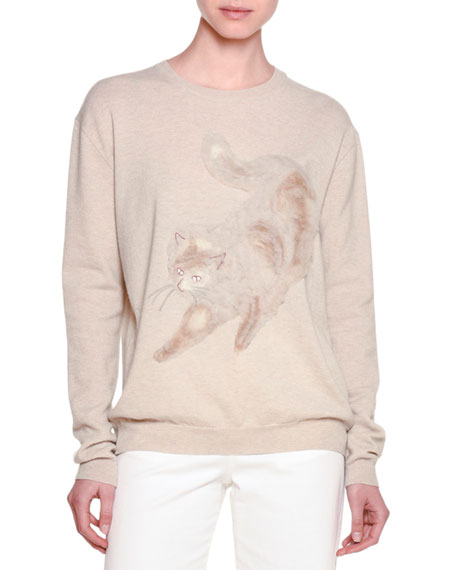 Long-Sleeve Cat-Embroidered Sweater, Beige
