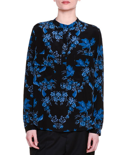 Estelle Floral-Print Blouse, Black