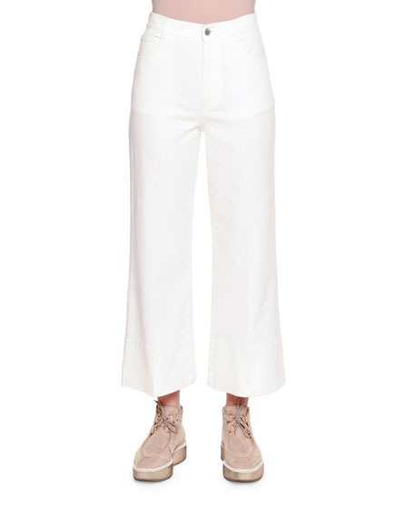 Stella McCartney High-Waist Culotte Jeans, Pure White