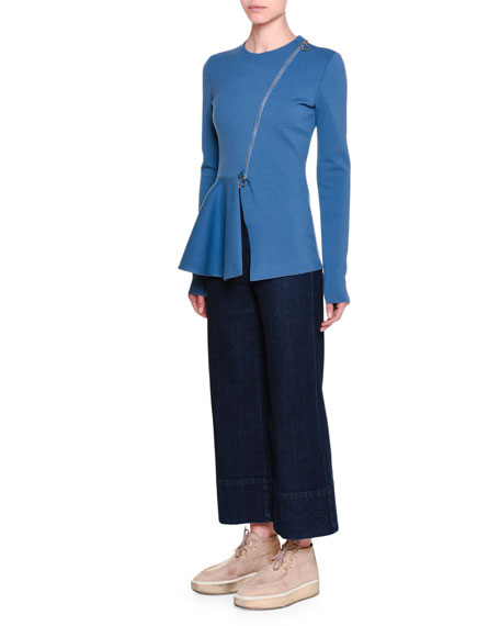 High-Waist Culotte Jeans, Dark Blue